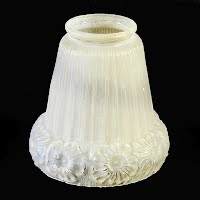 Antique Flower Satin Glass Shade, 1930's