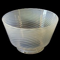 Antique White Opalescent Glass Swirl Shade, 1930's