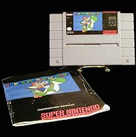 SNES Super Nintendo Game Cartridge: Super Mario World, with directions