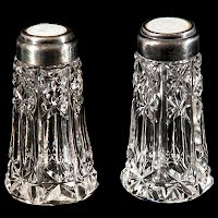 Antique Vintage  Cut Glass Salt and Pepper Shakers