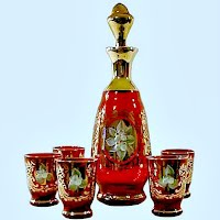 Vintage Murano Enameled Glass Decantor with 5 glasses, 1970's