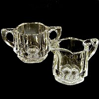 Vintage Glass Sugar and Creamer Set