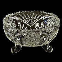 Vintage Clear Cut Glass like Bowl with feet