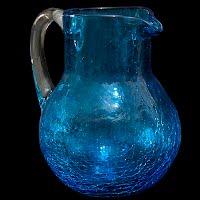 Vintage Blue Crackle Glass Pitcher, 1960