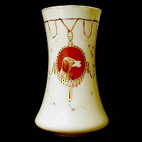 Vintage Yellow Opaque Glass Hand Painted Dog Vase