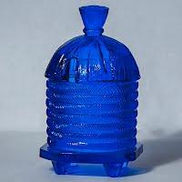 Vintage Blue Beehive Honey Jar