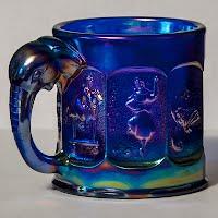 Vintage Blue Carnival Elephant Handled Mug