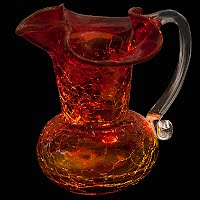 Vintage Amberina Hand Blown Small Glass Pitcher