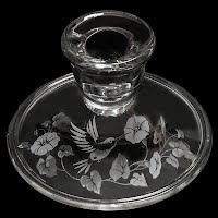 Vintage Glass Candlestick Holder with Etched Hummingbird