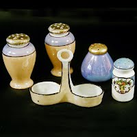 Antique Lusterware Salt and Pepper Shakers and Holder