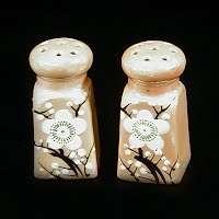 Antique Lusterware Salt and Pepper Shakesr with enameled flowers