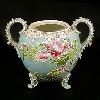 Antique Handpainted Nipon Moriage Porcelain Sugar Bowl with handpainted enamel beaded