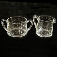 Antique Etched Leaf and Berry Design, Clear Sugar and Creamer Set