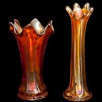 Vintage Marigold Carnival Glass Vases