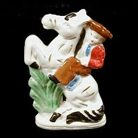 Vintage Porcelain Horse and Rider Figurine, Japan