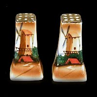 Antique Salt and Pepper Shakers with hand painted windmills