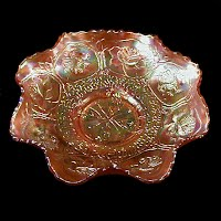 Antique Carnival Glass, Dragon & Lotus Ruffled Marigold Bowl, 1910 Fenton Glass Co
