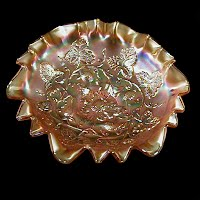 Antique Carnival Glass, Blackberry Wreath Marigold Bowl, 1910 Millersburg Glass Co
