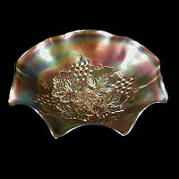 Antique Carnival Glass, Grape Leaves Purple Bowl, 1910 Northwood Glass Co