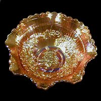 Antique Carnival Glass, Marigold Windmill Ruffled Bowl, 1940 Imperial Glass Co