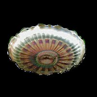 Antique Carnival Glass, Green Stippled Rays Bowl, 1910 Fenton Glass Co