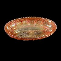 Antique Carnival Glass, Marigold Frosted Block Pickle Dish, 1915 Imperial Glass Co