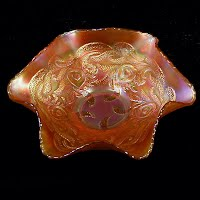 Antique Carnival Glass, Marigold Heart and Vine Dish, 1910-1914 Fenton Glass Co