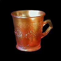 Antique Carnival Glass, Orange Blossom Tree Marigold Mug, 1910 Fenton Glass Co
