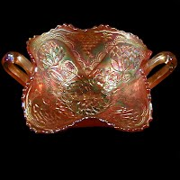 Antique Carnival Glass, Marigold Lotus and Grape Bonbon Dish, 1910 Fenton Glass Co