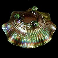 Antique Carnival Glass, Green Smooth Rays Footed Bowl, Beaded Cable on outside of Bowl, 1910 Northwood Glass Co