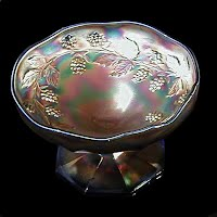 Antique Carnival Glass, Blackberry Spray Ice Blue Cream Dish, 1910 Fenton Glass Co