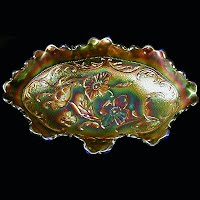 Antique Carnival Glass, Blue Poppy Dish, 1910-1920 Northwood Glass Co
