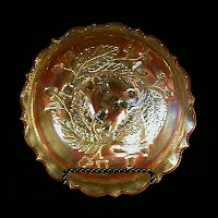 Antique Carnival Glass, Marigold Acorn Oak Leaf Bowl, 1915-1925 Northwood Glass Co