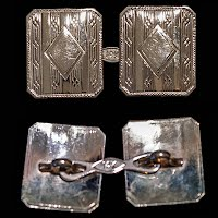 Antique 14K White Gold Cuff Links