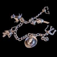 Vintage Silver Child's Cowboy Charm Bracelet