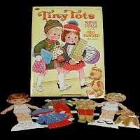 Vintage 1967 Tiny Tots Paper Dolls with Red flocked Clothes, Whitman Publishing