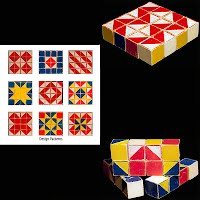 Vintage Wood Block Color Cubes Design Game with patterns