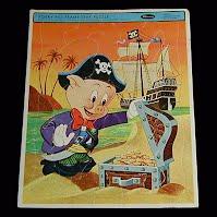 Vintage Porky Pig Pirate Puzzle, 1965