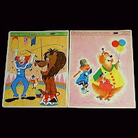 Vintage Bozo the Clown and Circus Puzzles, 1964