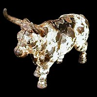 Antique Vintage Cast Iron Metal Bull Bank, 1920s