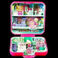 Vintage Party Time Surprise Polly Pocket, 1 polly, 1 teddy bear in box Bluebird Toys 1989