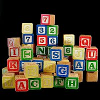 Vintage Wooden Blocks, letters and numbers, 1950s