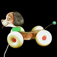 Vintage Fischer Price Woobles Dog Pull Toy, 1964