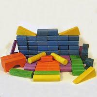 Vintage Multicolored Wooden Building Blocks