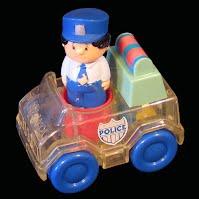 Vintage Playskool Clear Push and Go Police Car