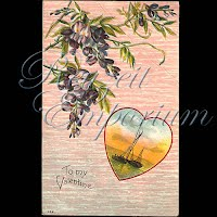 Antique Valentine Postcard with sailboats