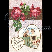 Antique Valentine Postcard with roses
