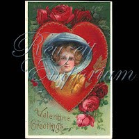 Antique Valentine Postcard with pretty lady