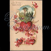 Antique Valentine Postcard with hearts and flowers
