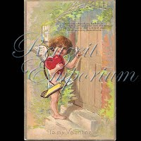 Antique Valentine Postcard with cupid